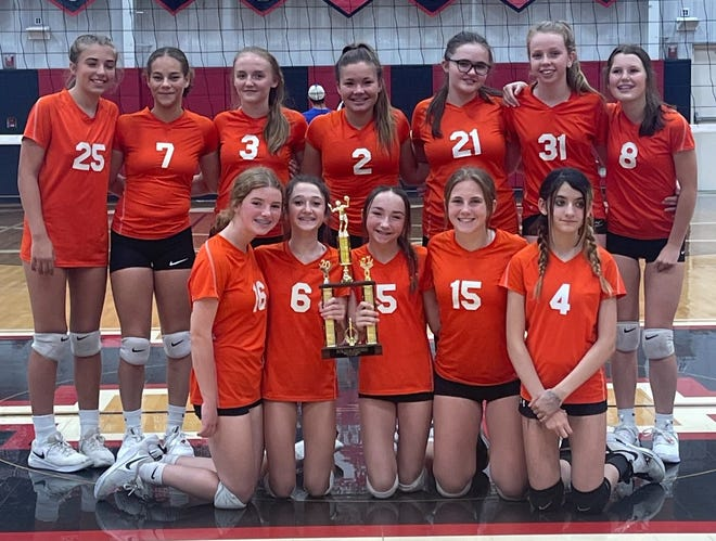 The Claymont 8th graders won the Inter-Valley Conference South Championship. Members of the team are FRONT Hayden Wilson, Kendyl Wallace, Whitney Watkins, Abbey Lane Devore, Aubrey Somers. BACK Lillian Riker, Kenahdee Searcy, Abigail Johnson, Ava Edwards, Madyson Stutzman, Ashtyn Walker, Sydney Ronald. Kayla Amore coached the Mustangs.
