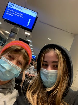 Apple Valley High School student Katelyn Rose, 15 (right), and her grandmother, Paula Baxter, were stranded at Chicago Midway International Airport over the weekend amid Southwest Airlines flight cancellations.