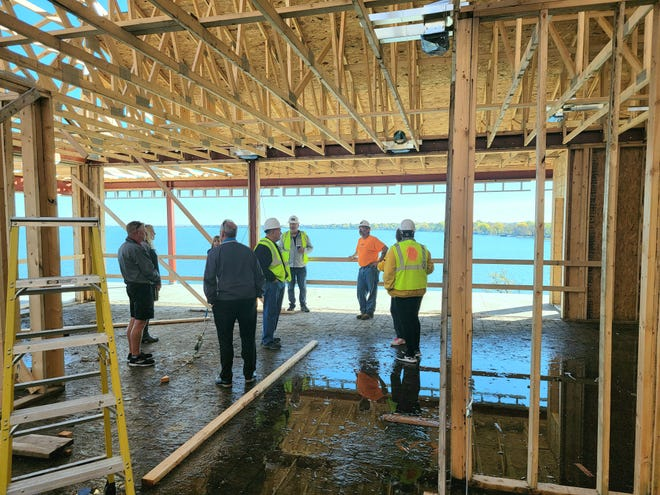 Tours of the unfinished condos were given to guests during the Stony Point Topping Off Party on Monday.
