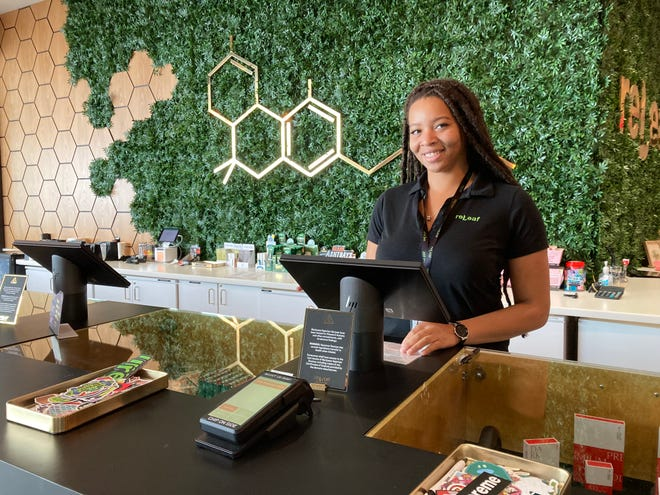 Brionca Williams is ready to shop for customers at ReLeaf Alternative, Mansfield's new cannabis dispensary on School Street.