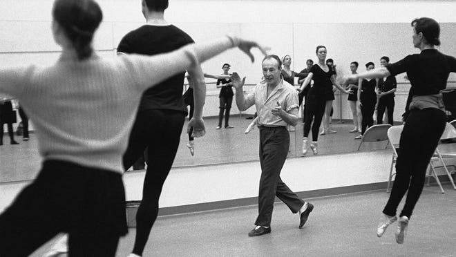 """George Balanchine teaching at the New York State Theater in Lincoln Center around 1964 in a photo by Martha Swope, as seen in """"In Balanchine's Classroom."""""""