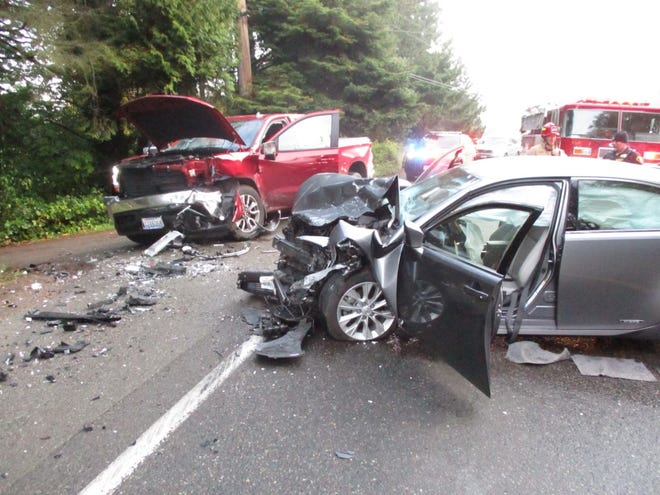 Wreckage of a head-on car crash Monday morning near Belfair that Washington State Patrol says was caused by an impaired driver.