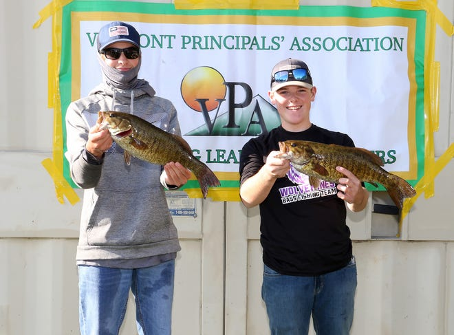 Jacob Patch and Hunter Skaza of the Quarry Valley Bass fishing team pose during Sunday's state championships in South Hero.