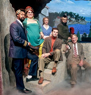Bud Schliemann (Nick Cornelison, center) discovers Greek gods are living among us (clockwise from left, Clifton Antoine as Julian, Dottie Flener as Hester, Jillian Traskos as Dee, Madison Ray as Sarge, Ken Reams as Dr. Valency) in Escaping the Labyrinth, playing Oct. 15-24, 2021, at The Des Moines Playhouse.
