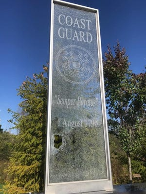 The Oakland County Sheriff's Office said that itthey received a call about the vandalism of a glass panel representing the U.S. Coast Guard, one of six erected in tribute to the U.S. Armed Forces at the Veterans Tribute of Oakland Township.