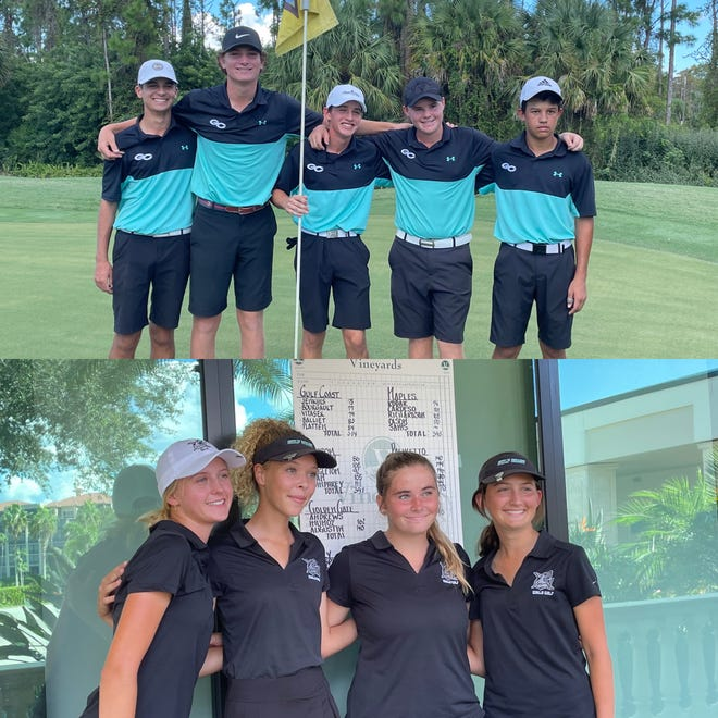 The Gulf Coast High School boys and girls golf teams rolled to wins in their respective CCAC tournaments on Monday, Oct. 11, 2021.