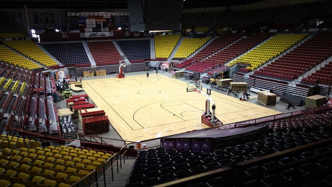 New Mexico State basketball and volleyball will play on a temporary court for the rest of 2021-22 year due to damage to the Pan American Center surface.