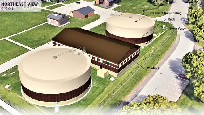 This artist's rendering shows one possible design for new water storage tanks and a pump station located at the city's water filtration plant, 425 Lake Shore Drive. A public meeting is being held Wednesday to share information about the Clearwells Replacement Project, including two design options.