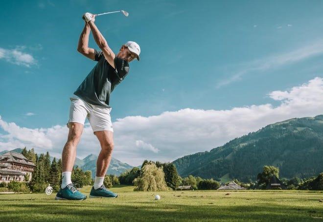 Casper Ruud shows off his golf skills in this photo taken in Kitzbuhel, Austraia