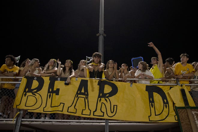 Students from Basha High School cheer during a football game against Sandra Day O'Connor High School on Sept. 3, 2021 at Basha High School in Chandler. Monica D. Spencer/The Republic 5674119001