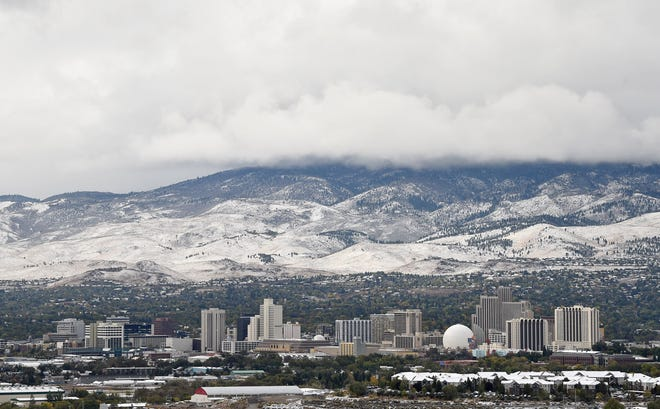 Reno gets its first dusting of snow on Monday morning Oct. 11, 2021.