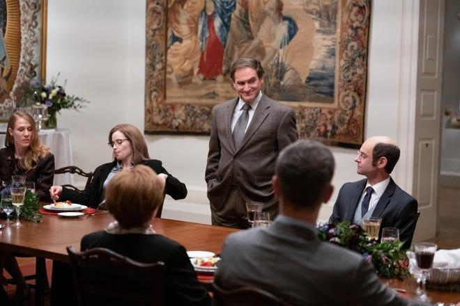 "The Purdue Pharma board and the Sackler family in ""Dopesick,"" including Richard Sackler (Michael Stuhlbarg)."