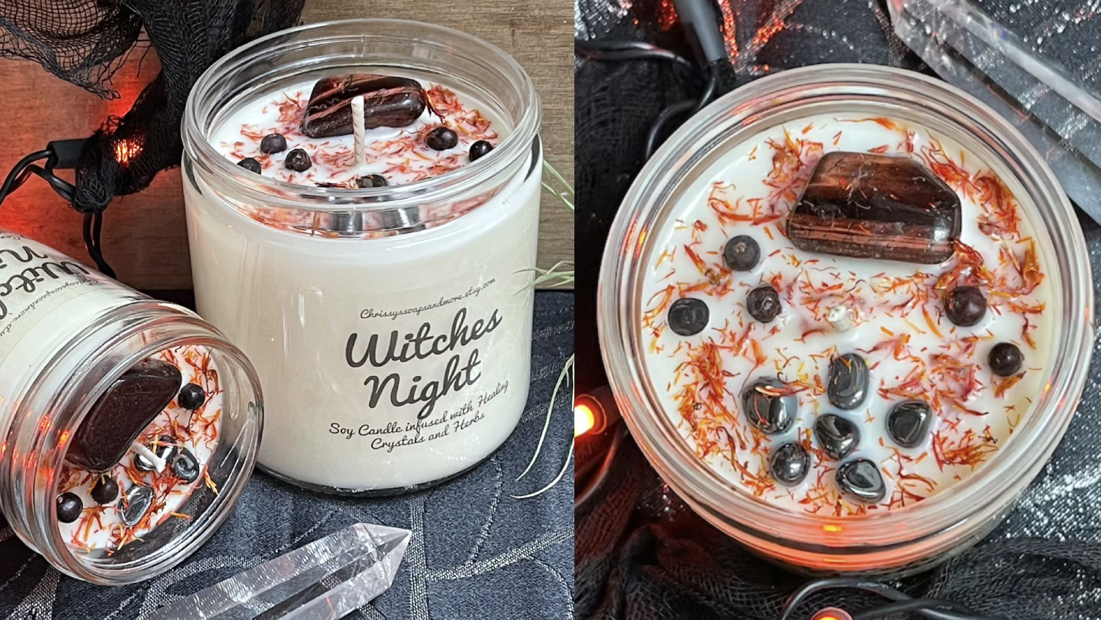 This Etsy candle is dotted with pretty crystals.