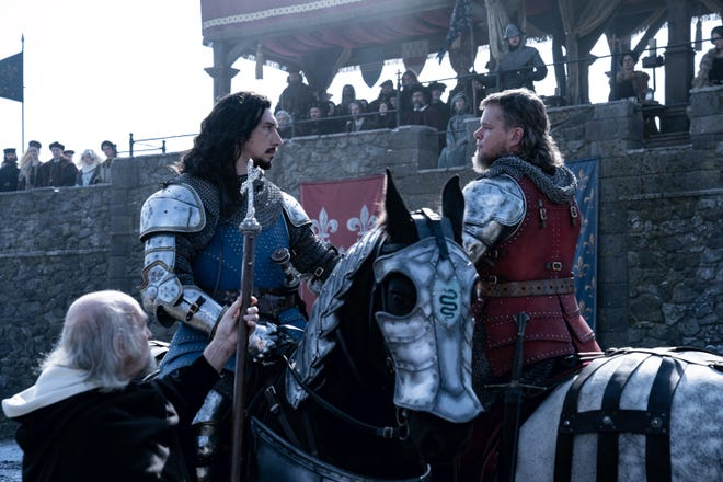 Former friends Jacques Le Gris (Adam Drive, left) and Jean de Carrogue (Matt Damon) met for a deadly test in a fight at Ridley Scott.