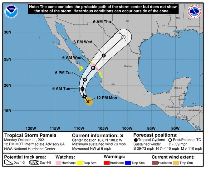 The forecast track of Pamela shows it hitting the west coast of Mexico as a hurricane on Wednesday.