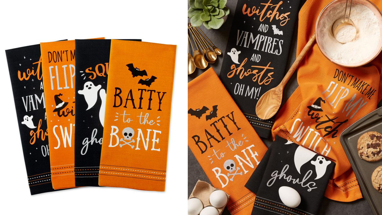 Make even dishwashing fun with these Halloween hand towels.
