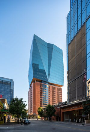 Banking giant JPMorgan Chase & Co. will occupy the top two floors of 405 Colorado, a new office tower in downtown Austin developed by Brandywine Realty Trust.  (Leonid Fumansky for Brandywine Realty Trust)