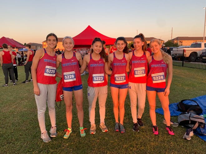 The Westlake girls cross country team of, from left, Margaret Barton, Sophie Wollan, Jenny Bui, Eavan Amador, Blair Johnson and Kylie Herman get ready for a race earlier this season. Not pictured is Ella Seidel. Five underclassmen have emerged as the top runners for a Westlake team that will race in this weekend's District 26-6A race.