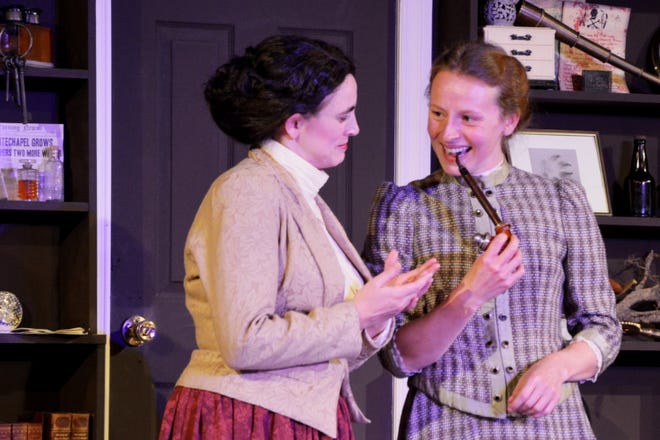 """Amanda Vigneault, left, and Rachel Lee Kolis play Dr. Dorothy Watson and Sherlock Holmes in """"Miss Holmes"""" at Ohio Shakespeare Festival in Akron."""