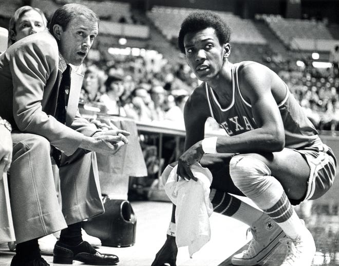 Former Texas men's basketball coach Leon Black, left, who led the Longhorns to a pair of Southwest Conference championships in the 1970s, died Tuesday at the age of 89. He continued attending men's games at the Erwin Center, missing only three games until 2018.
