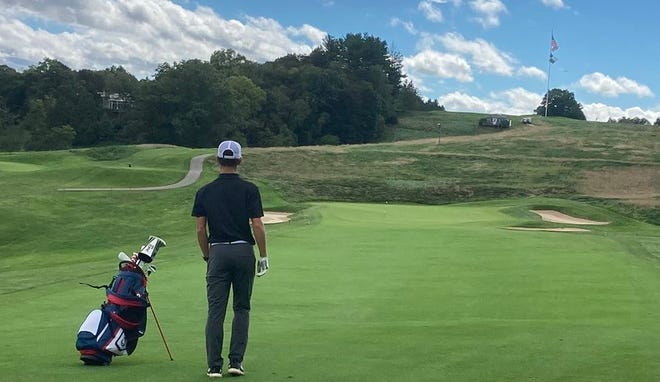 Micah Guevara of Beaver County Christian School maps out his next shot at the WPIAL Championships on Thursday, Sept. 30, at Allegheny Country Club.