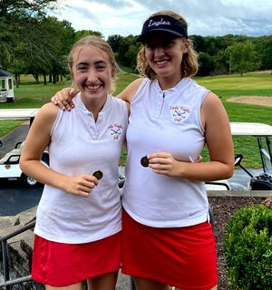 Southern Boone golfers Lily and Lila Frazier pose after their district tournament.