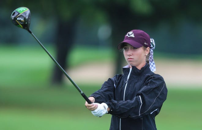 New Albany's Kary Hollenbaugh earned medalist honors with a 70, leading the Eagles to their fourth consecutive Division I district title Oct. 12 at New Albany Links.