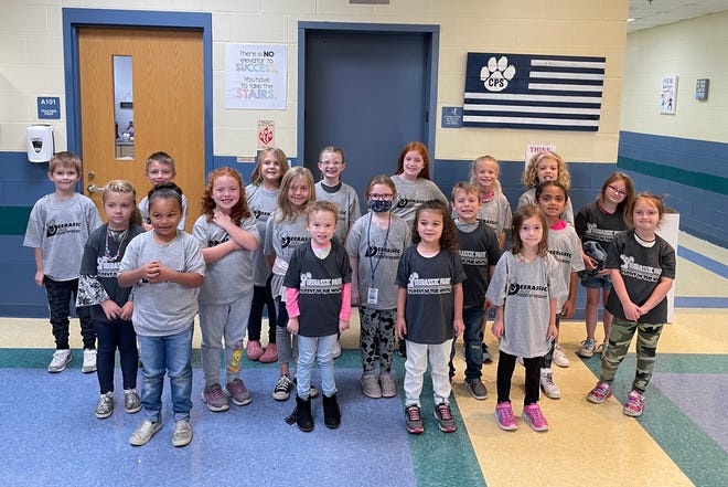 Students of the Month for September at Cambridge Primary were, first row, Aushelle Herron, Payslee Abrams, Madalynn Tipton, Josie Bennett, second row, Kenlee Keller, Lily King, Sutton Frye, Kendal Stevens, Landon Leppla, Avery Harding, Angel Moyer, third row, Lucas LaFollette, Maddix Kane, Ellie Bradley, Miah Messer, Jemma Golden, Chelsie White, Karina Brown and Emery Griffith. Absent are Remington Kennedy, Bodhi Furbee and Brenna Smailes.