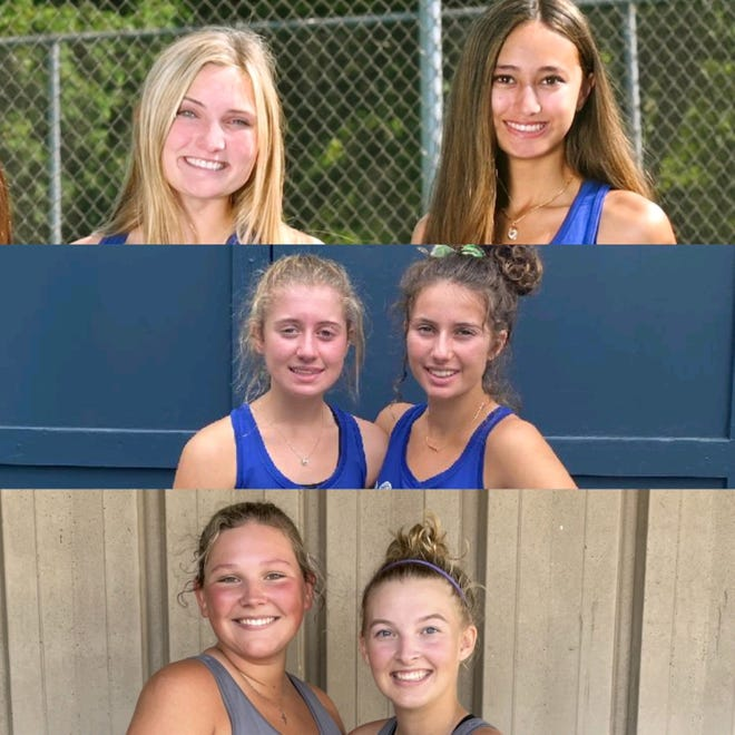 Top to bottom: Wooster's Emma Boreman and Alexia Kakanuru, Ava Mathur and Sophia Mathur and Chippewa's Katie Harlan and Ally Murphy