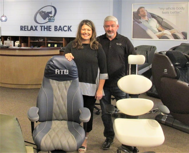 Angela and  Bryan Miller celebrated the grand opening of their new venture, Relax the Back, furniture designed for living well, located in the Millers' Stone Barn Furnishings in Mount Hope.