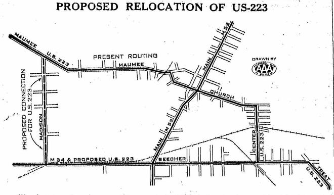 This map, from the Oct. 7, 1938 edition of The Daily Telegram, shows the 1938 proposed rerouting of U.S. 223 through Adrian. The new route avoided taking traffic through the business district by moving it through town on Madison and Beecher streets instead of Maumee, Church and Center streets.