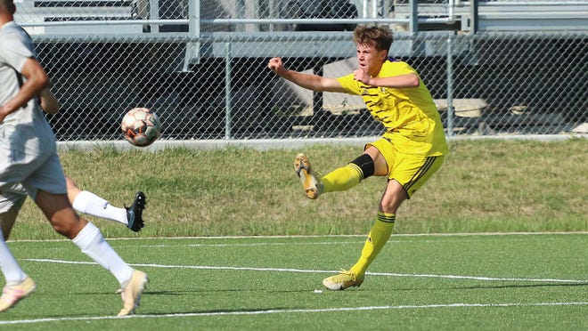 Dodge City CC men's soccer, Janik Buch tallies the tying goal against Neosho County in the first half helping the Conquistadors ultimately pick up the 2-1 double overtime win.