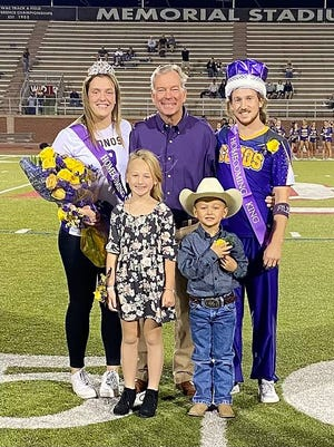 The 2021 Dodge City Community College fall Homecoming Week culminated with a bonfire and pep rally behind Jackson Hall on Friday, Oct. 8, and with the football game versus Garden City Community College on Saturday, Oct. 9, at Memorial Stadium. The 2021 King and Queen, which were crowned at halftime on Saturday, are Keegan Jones, sophomore, Bruthen, Australia; and Nur Yaren Türkmenoglu, freshman, Istanbul, Turkey, respectively. Pictured (left to right, back row) are Türkmenoglu; DCCC president, Harold Nolte; Jones; (front row) and homecoming attendants, Leighton and Jet Turley, who are the grandchildren of DCCC Board of Trustees member, Bill Turley.