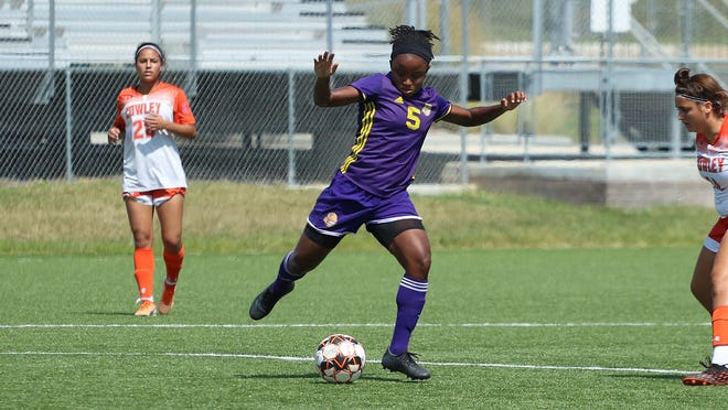 Dodge City CC women's soccer player, Tate Cuffy records a hat trick for the Conquistadors in a 3-0 win on the road at Neosho County.
