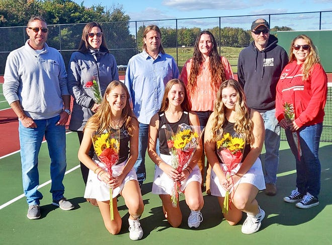 Honesdale's girls varsity tennis team recently closed out the 2021 Lackawanna League campaign. Three Lady Hornets were honored at Senior Day ceremonies prior to the regular season finale. Pictured here with their parents are (from left: Jocelyn Denoie, Hannah Merritt, Kayla Kuta.