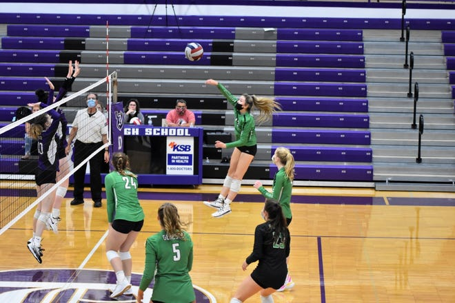 Geneseo varsity volleyball players defeated Dixon at the recent tournament held in Dixon. Shown in action are, No. 24 Emma Frank; No. 5, Kammie Ludwig; No. 23, Delainey VanRycke; No. 13 Alysia Perez and No. 4 Lauren Johnsen.