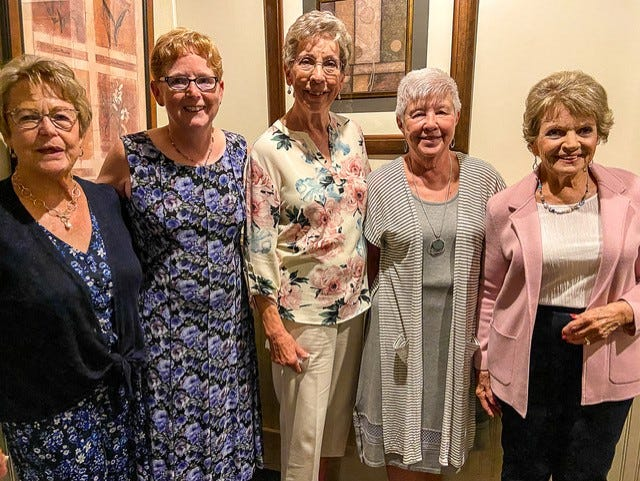 Members of the Sugar Maple Ladies Golf League receiving awards to Flight winners for Best Net score average were, from left, Janice Durick, Jan ZumMallen, Jean Hahn, Marilyn Halverson and Tamara Gernant. Debi Pulford also received an award, but was absent for the photo.