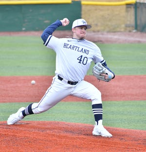Heartland's Connor Aten, a 2020 Galesburg High School grad, delivers a pitch in a game against Morton College on Sunday, Feb., 28, 2021.