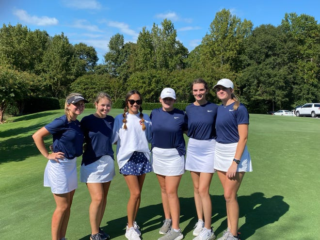 From left to right: Savannah Burris, Annabelle Blackwood, Kimberly Ensley, Samantha Ireland, Madison Ridings and Olivia Ireland pose for a photo. Chapman girl's golf won its first ever region title on Tuesday, Oct. 12, 2021 at Village Greens Golf Club in Gramling, South Carolina.