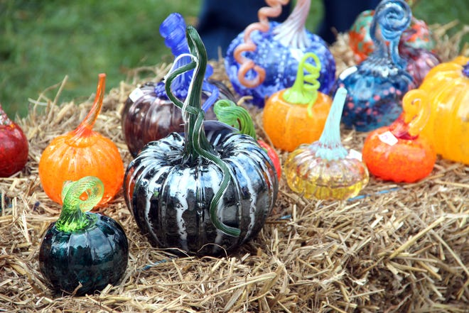 Glass pumpkins of all shapes, sizes and colors will be on display Saturday at the Monroe County Courthouse lawn.
