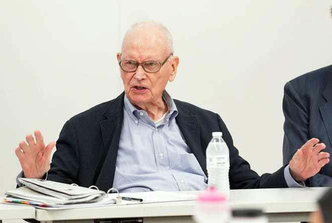 """Former U.S. Rep. Lee H. Hamilton speaks during """"The 9/11 Commission and its Meaning Today"""" panel discussion in the Hamilton Lugar School of Global and International Studies Monday afternoon."""