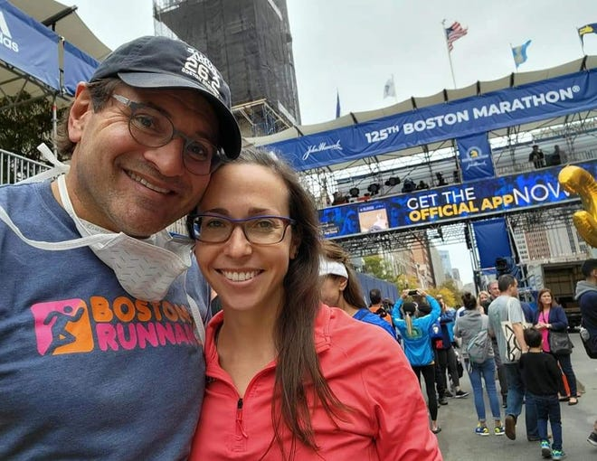 Rick Ganzi and Marissa Mahtz at the 2021 Boston Marathon on Monday.