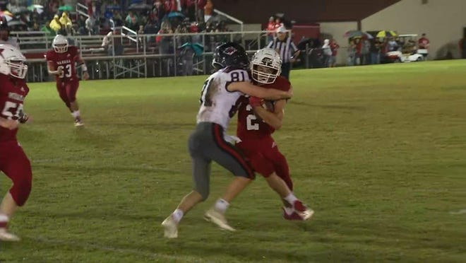 Ravenswood senior Tyce Price is shown making a tackle in Ravenswood's contest with the Wahama White Falcons.