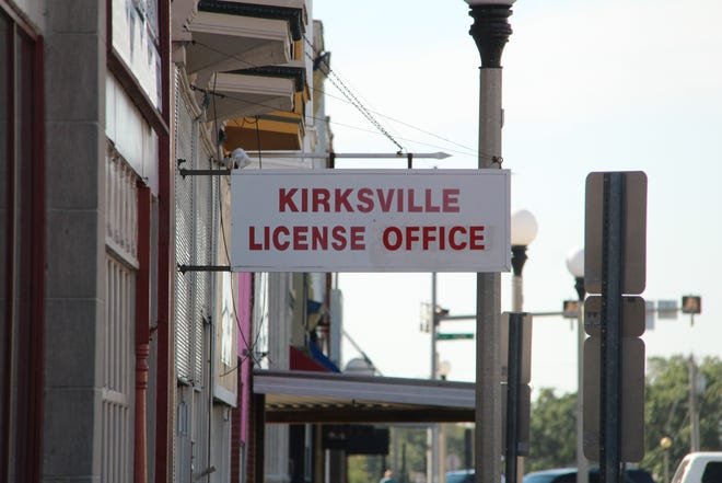 The Kirksville License Office sign.