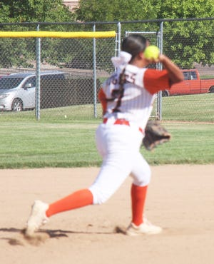 La Junta High School shortstop Alazeh Frazier throws out a Lamar baserunner in a game played on Sept. 22. The Tigers will host the Class 3A Region 4 Tournament on Oct. 16.