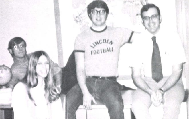 Pictures of the Past is from the 1972 Lincoln Community High School yearbook. The photo shows officers of the FERDS. From left are: Rick Ramlow, president, Julie Boughan, secretary/treasurer, Carter Sorenson, vice president and Mr. Hinton, the sponsor. The FERDS are the backbone of being a fan of LCHS. The group had an open membership so any student who wanted to belong could belong. A memorable moment was when members lined up at the end of the football field and cheered the team on, boosting morale so much that many say it is what won the game.