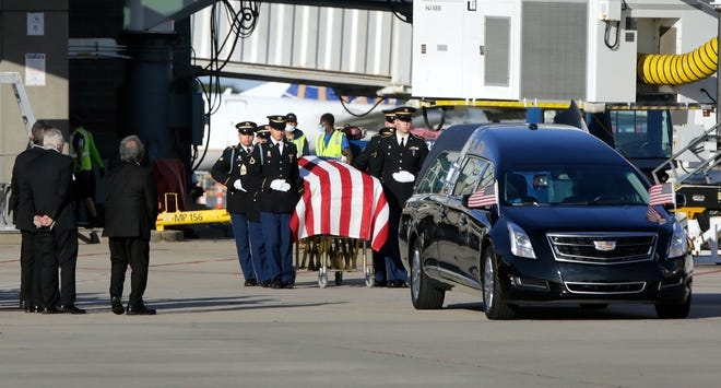 The remains of Army 1st Lt. Anthony Mazzulla, who was killed during the Korean War, are returned to Rhode Island on Tuesday.