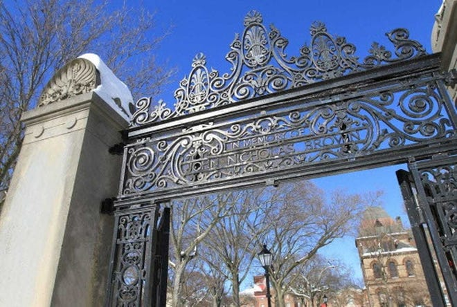 The John Nicholas Brown gate on the Brown University campus.