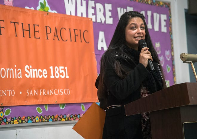 Stockton Unified School District Area 2 Trustee AngelAnn Flores speaks at an assembly Jan. 28, 2019, announcing University of the Pacific's 6th annual San Joaquin Literacy report at Nightingale School in Stockton.