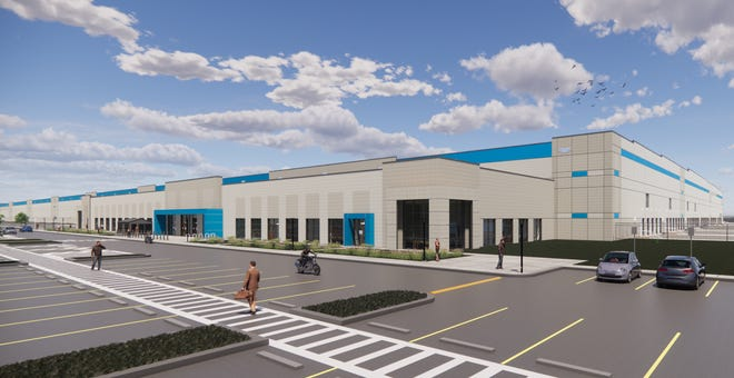 An artist's rendering for the planned Amazon facility located on the former site of Skyland Pines Golf Club in Canton.